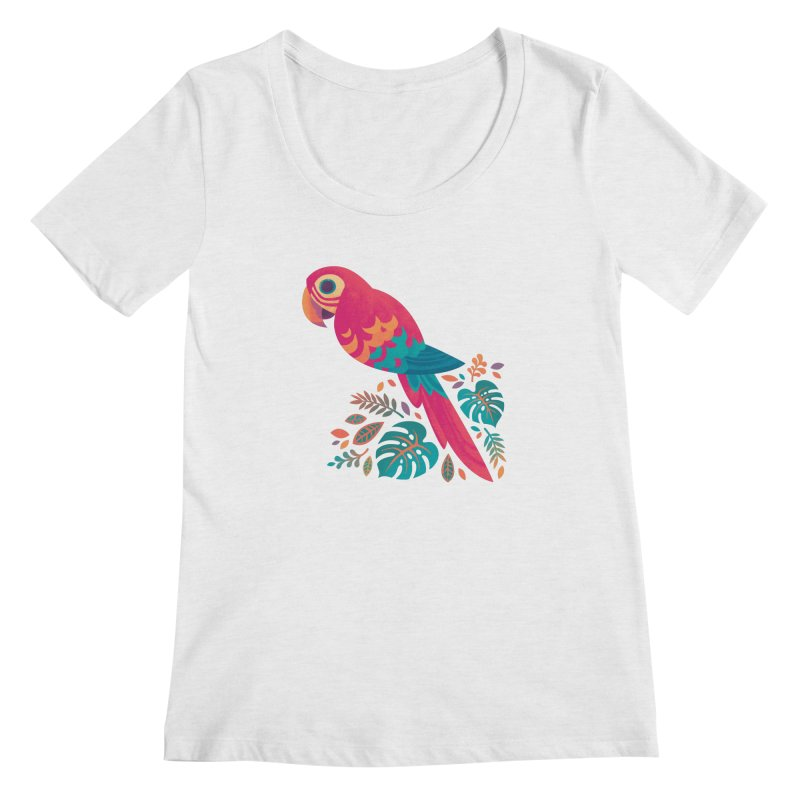 Scarlet Macaw Women's Regular Scoop Neck by Waynem