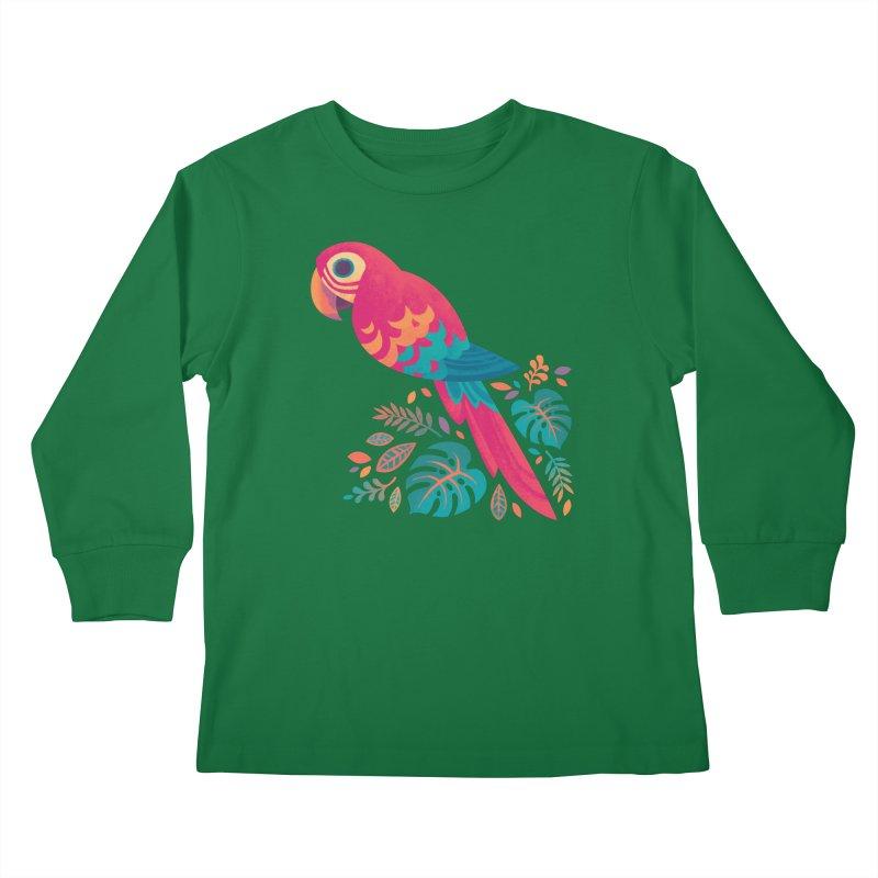 Scarlet Macaw Kids Longsleeve T-Shirt by Waynem