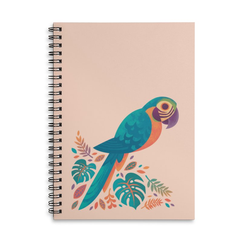 Blue and Gold Macaw Accessories Lined Spiral Notebook by Waynem