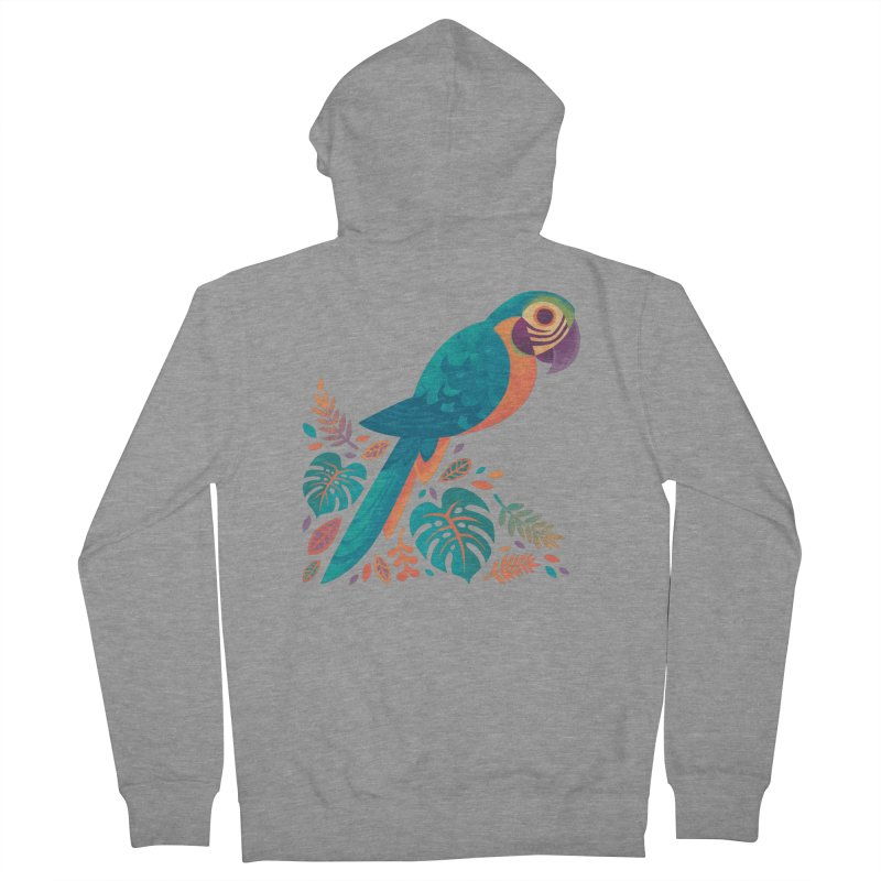 Blue and Gold Macaw Women's French Terry Zip-Up Hoody by Waynem