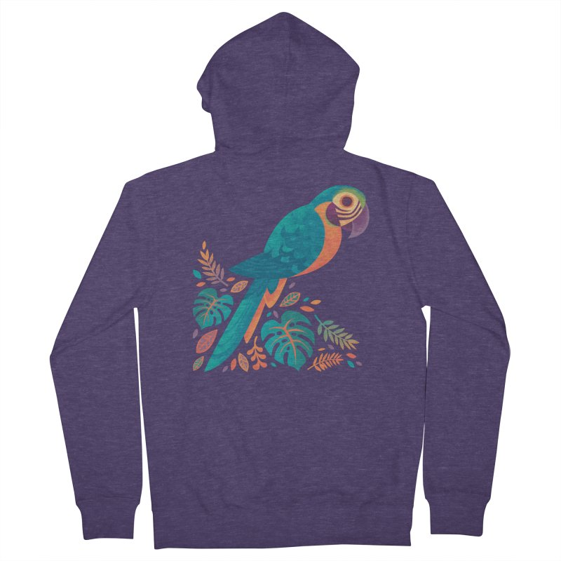Blue and Gold Macaw Men's French Terry Zip-Up Hoody by Waynem