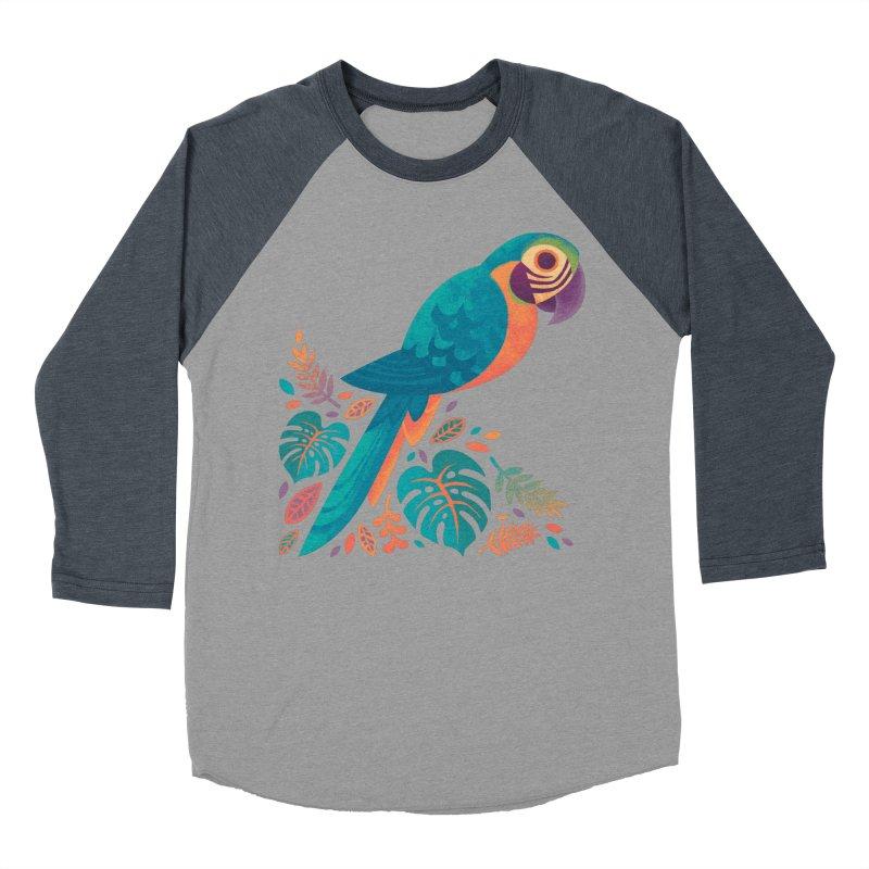 Blue and Gold Macaw Women's Baseball Triblend Longsleeve T-Shirt by Waynem