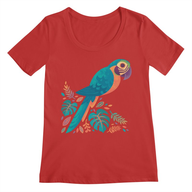 Blue and Gold Macaw Women's Regular Scoop Neck by Waynem