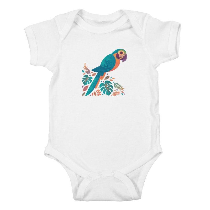 Blue and Gold Macaw Kids Baby Bodysuit by Waynem