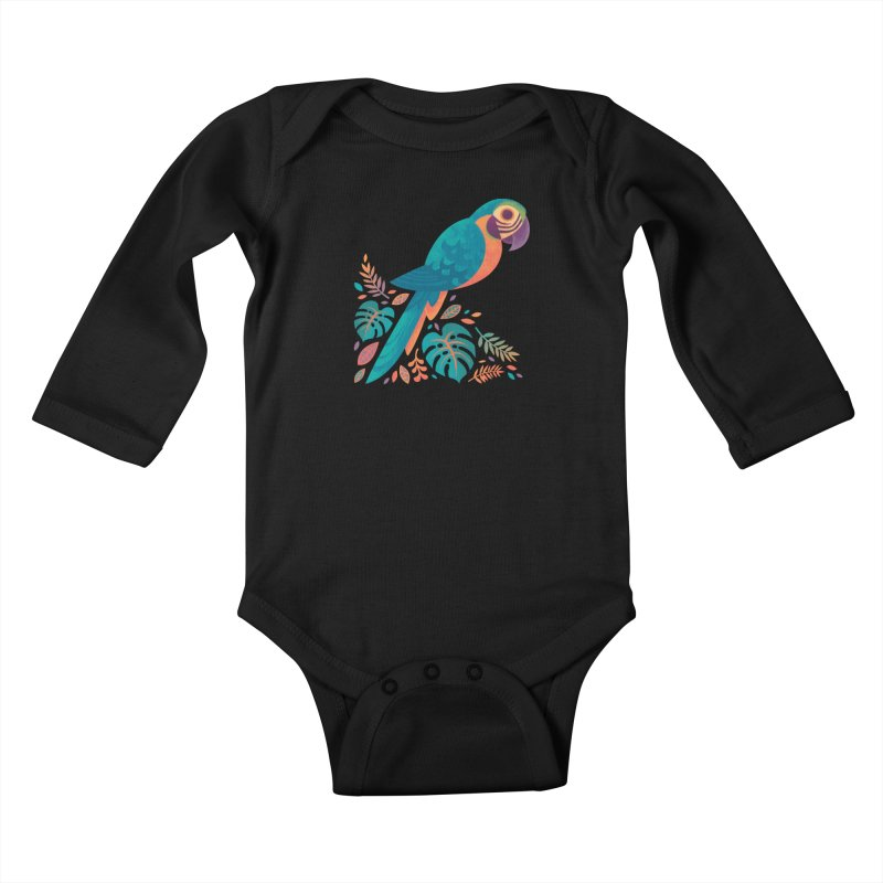 Blue and Gold Macaw Kids Baby Longsleeve Bodysuit by Waynem