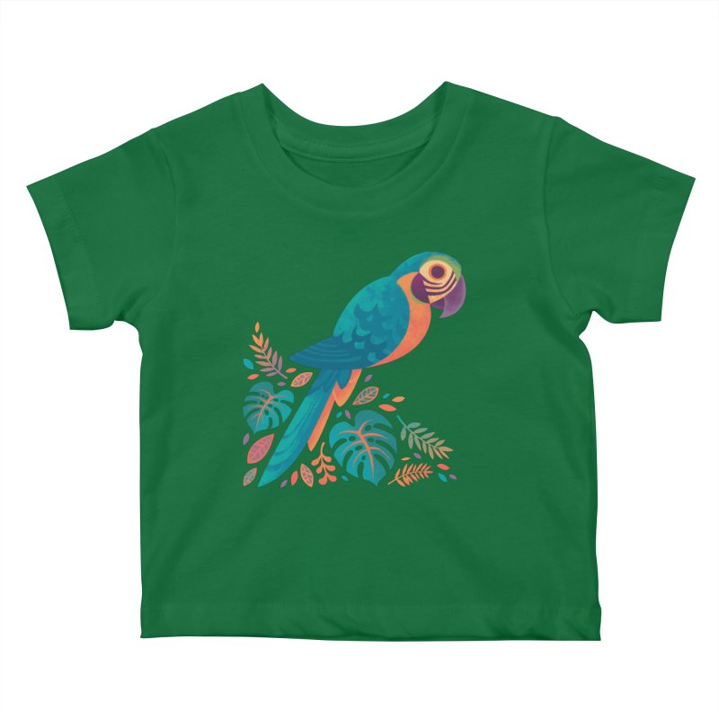 Blue and Gold Macaw Kids Baby T-Shirt by Waynem