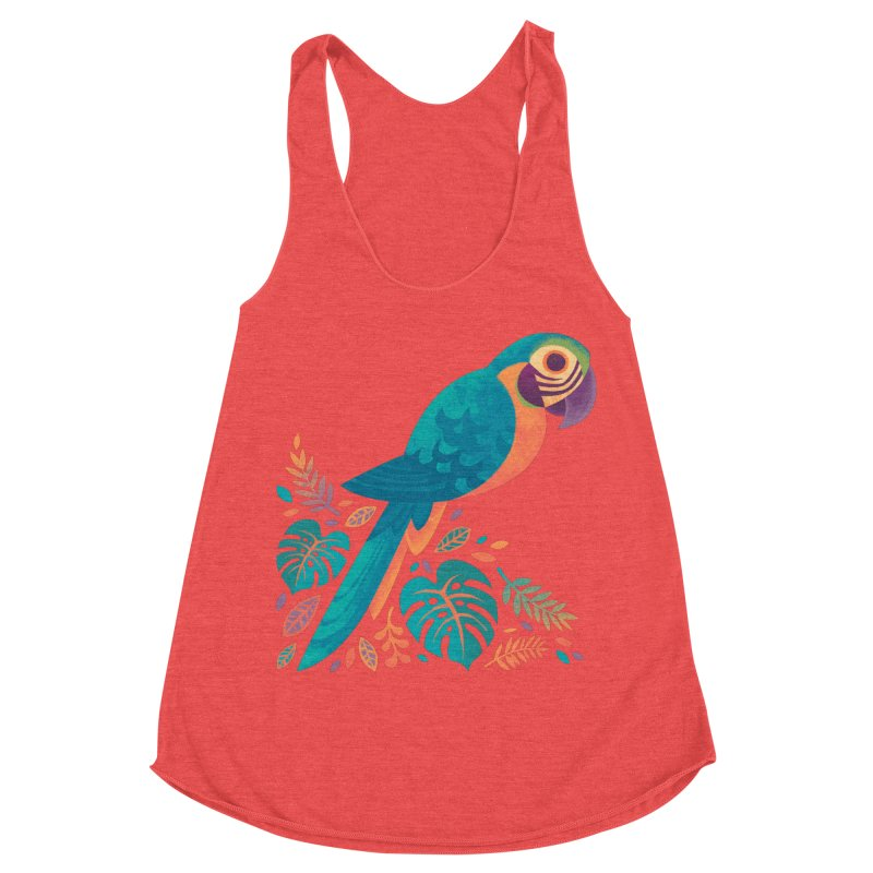 Blue and Gold Macaw Women's Racerback Triblend Tank by Waynem