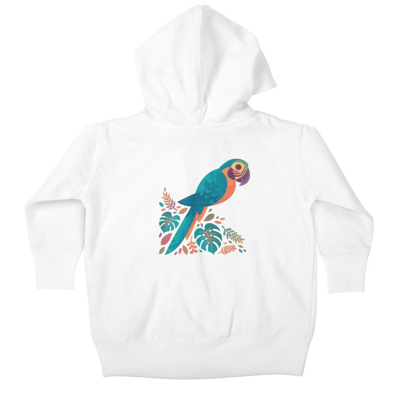 Blue and Gold Macaw Kids Baby Zip-Up Hoody by Waynem