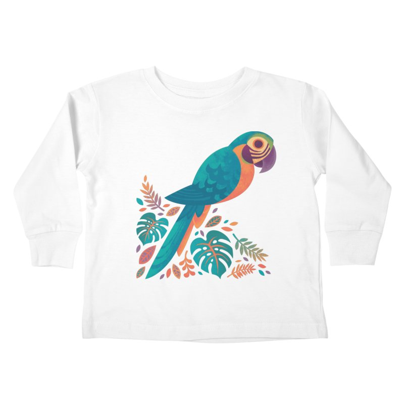 Blue and Gold Macaw Kids Toddler Longsleeve T-Shirt by Waynem