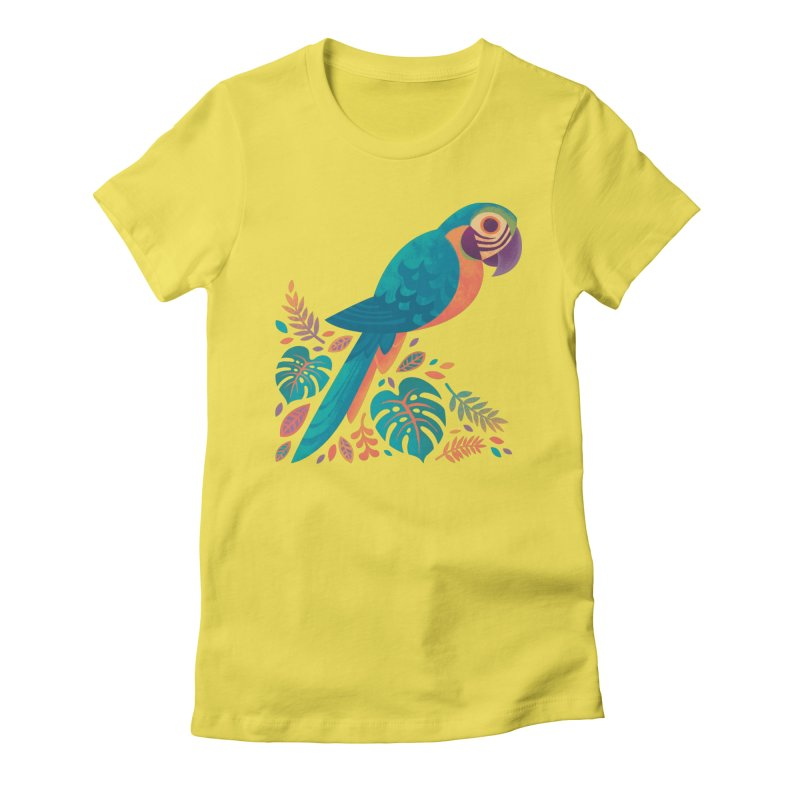 Blue and Gold Macaw Women's Fitted T-Shirt by Waynem