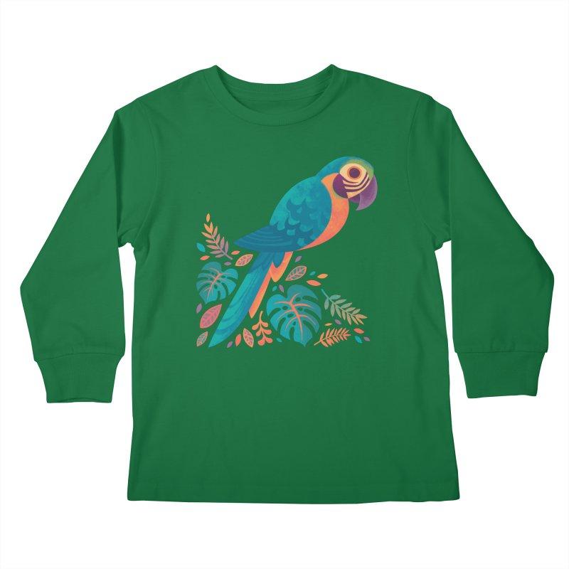 Blue and Gold Macaw Kids Longsleeve T-Shirt by Waynem