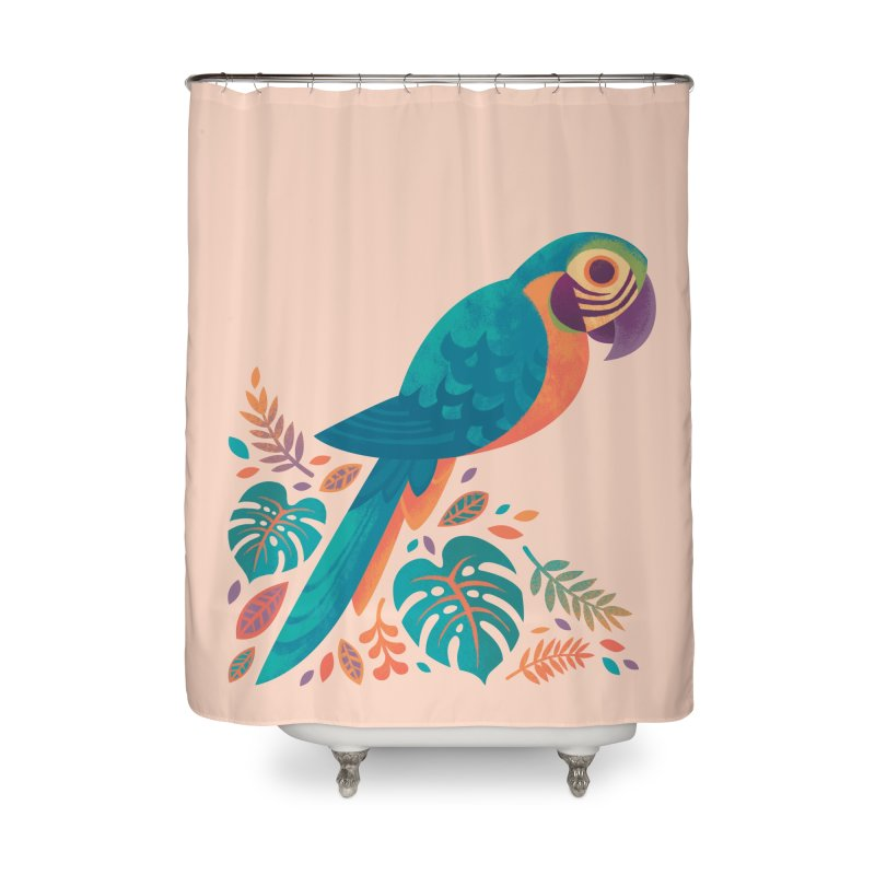 Blue and Gold Macaw Home Shower Curtain by Waynem