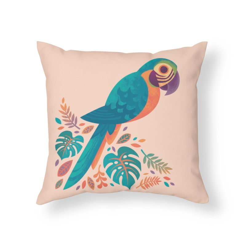 Blue and Gold Macaw Home Throw Pillow by Waynem