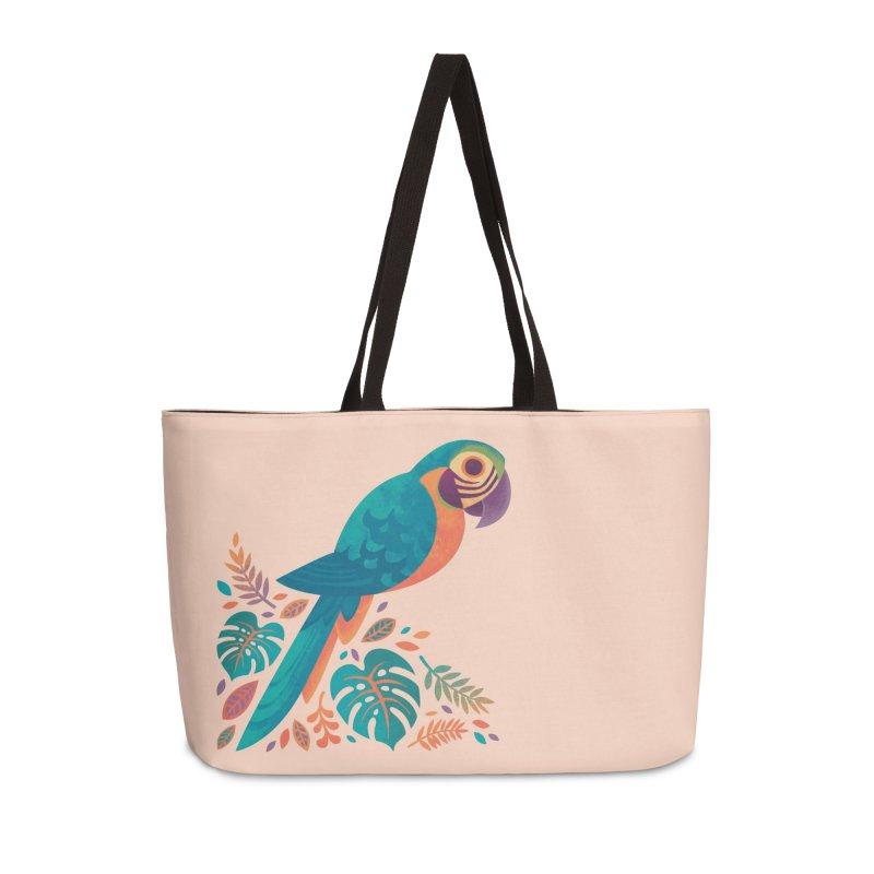 Blue and Gold Macaw Accessories Weekender Bag Bag by Waynem