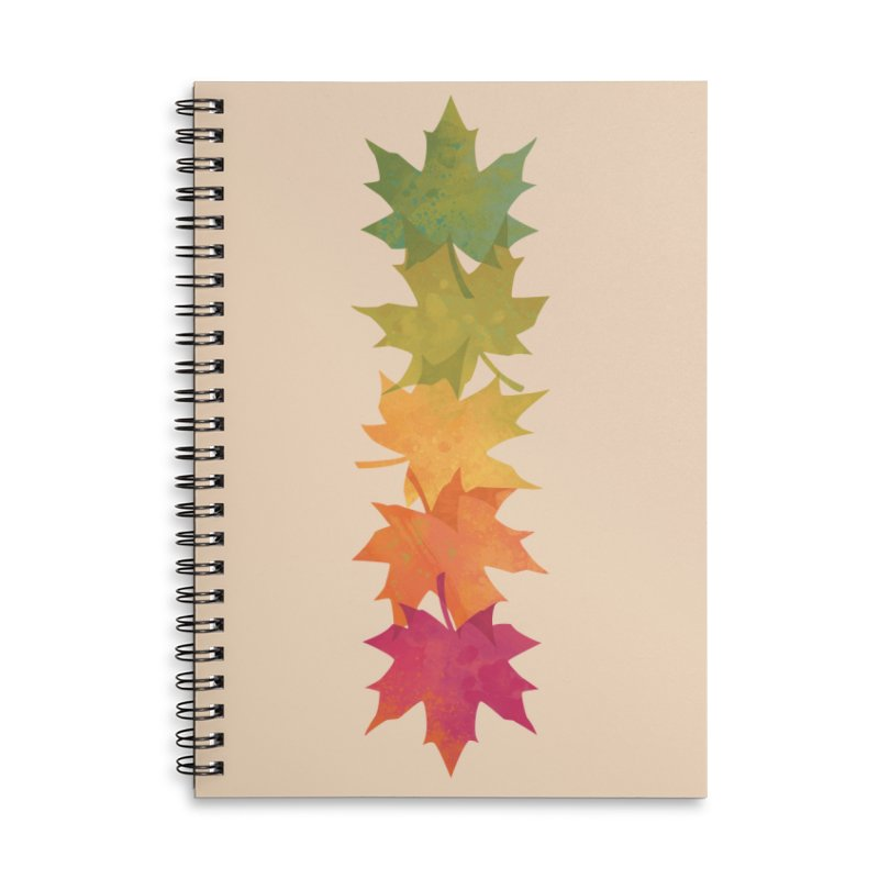 Falling Maple Accessories Lined Spiral Notebook by Waynem