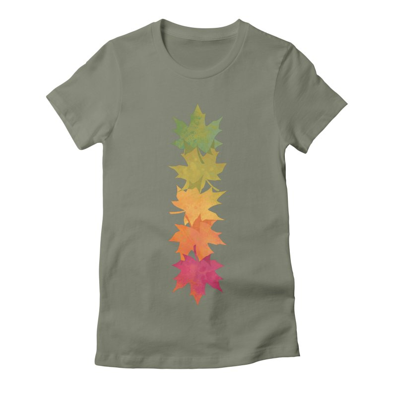 Falling Maple Women's Fitted T-Shirt by Waynem