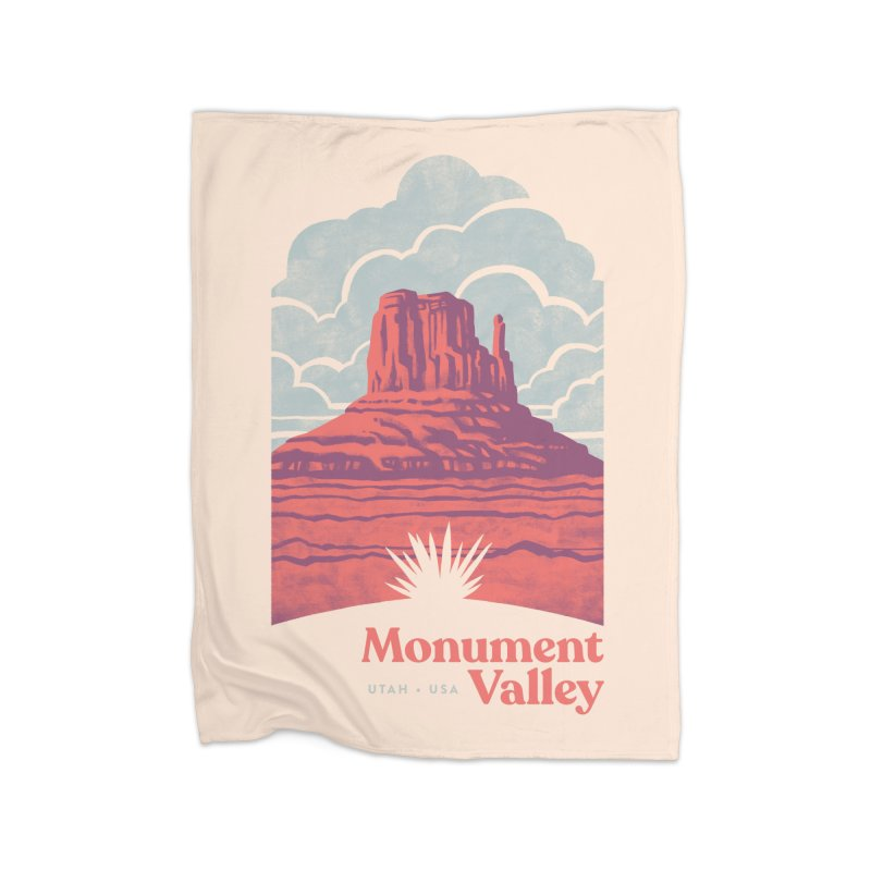 Monument Valley Travel Poster Home Fleece Blanket Blanket by Waynem