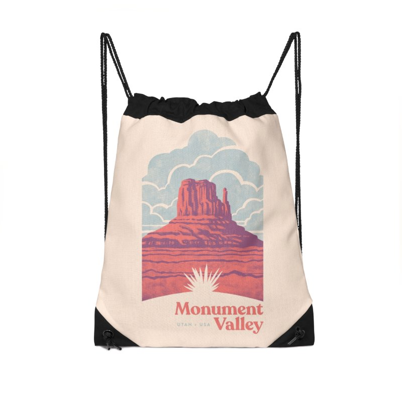 Monument Valley Travel Poster Accessories Drawstring Bag Bag by Waynem