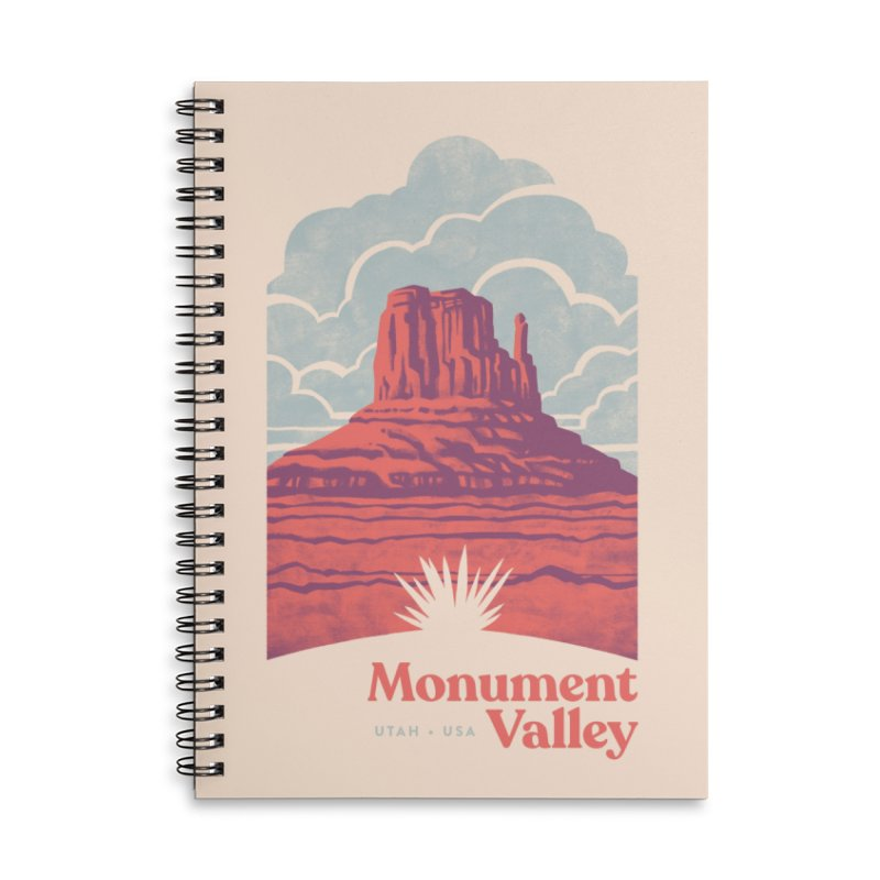 Monument Valley Travel Poster Accessories Lined Spiral Notebook by Waynem