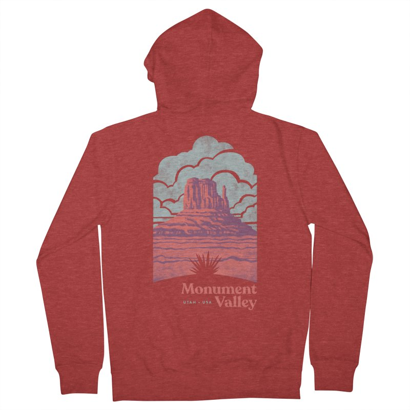Monument Valley Travel Poster Men's French Terry Zip-Up Hoody by Waynem