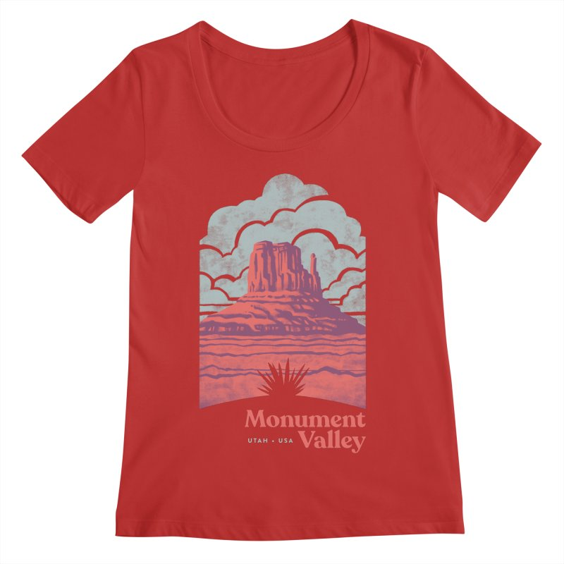 Monument Valley Travel Poster Women's Regular Scoop Neck by Waynem