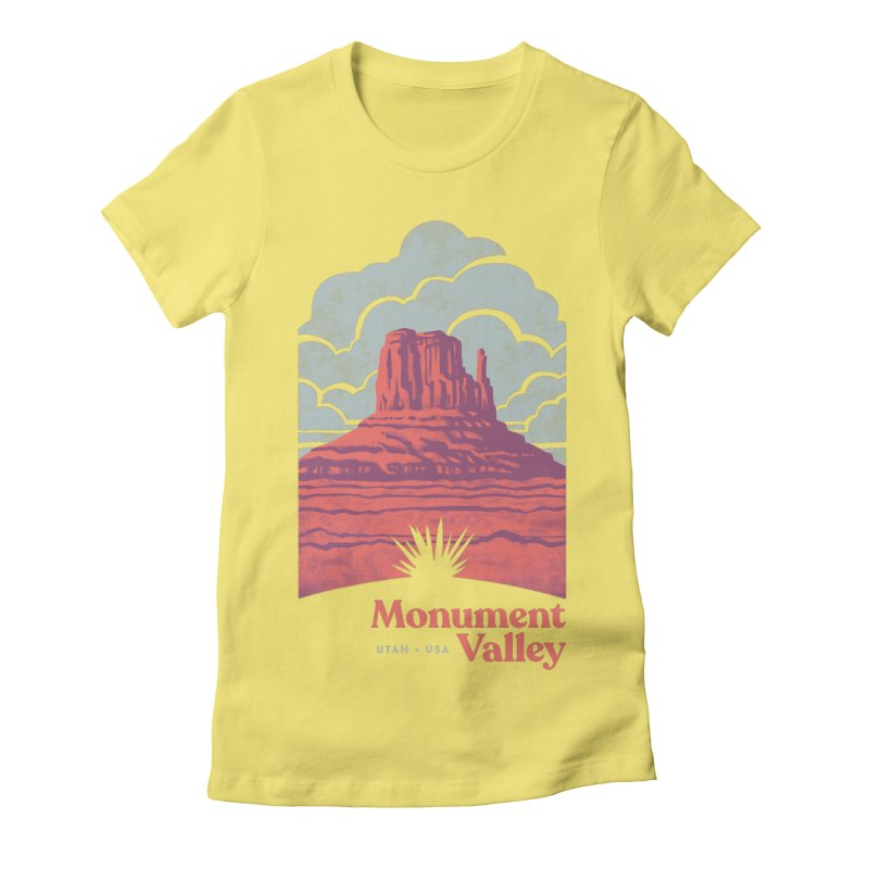 Monument Valley Travel Poster Women's Fitted T-Shirt by Waynem