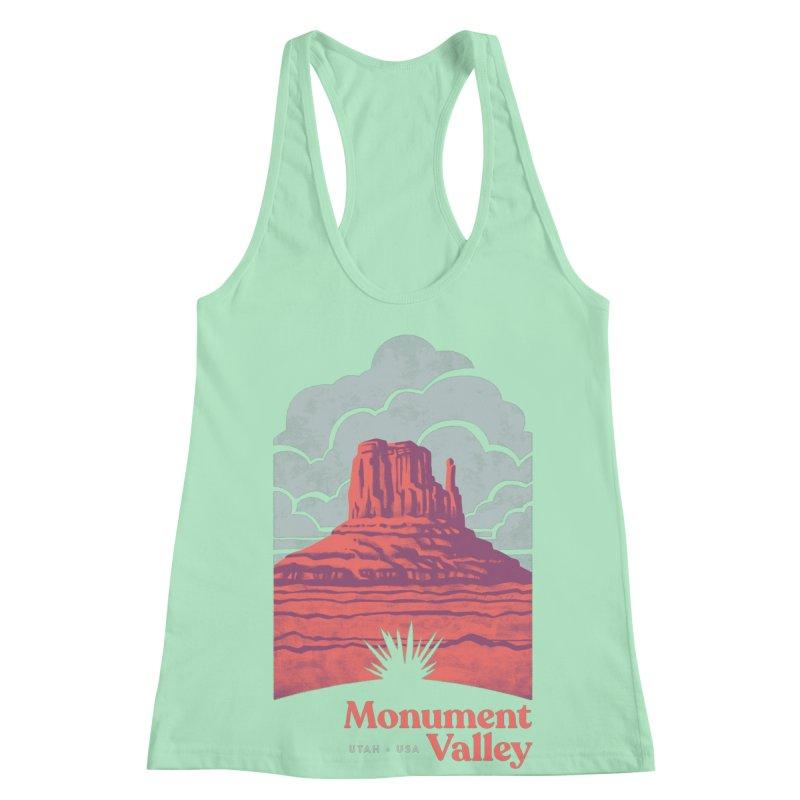 Monument Valley Travel Poster Women's Racerback Tank by Waynem