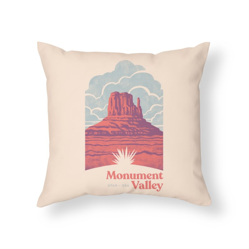 Monument Valley Travel Poster Home Throw Pillow by Waynem