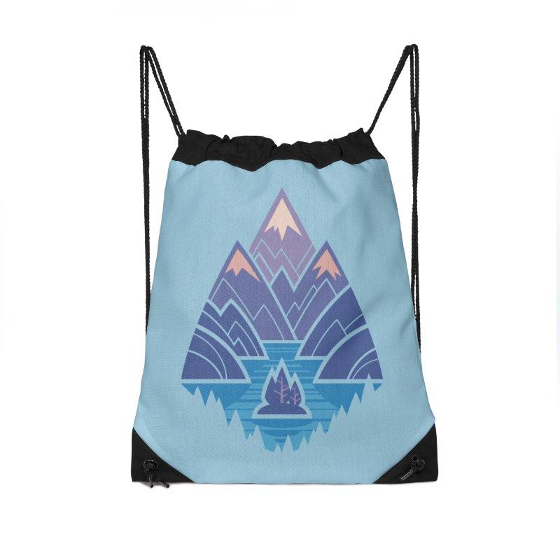 Mountain Lake : blue Accessories Drawstring Bag Bag by Waynem