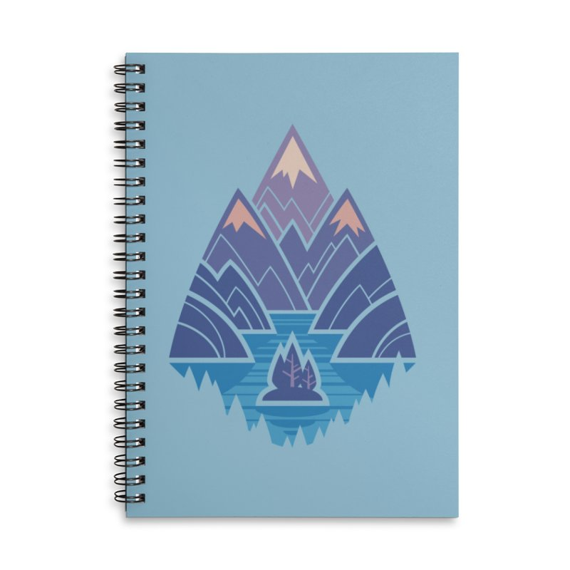 Mountain Lake : blue Accessories Lined Spiral Notebook by Waynem