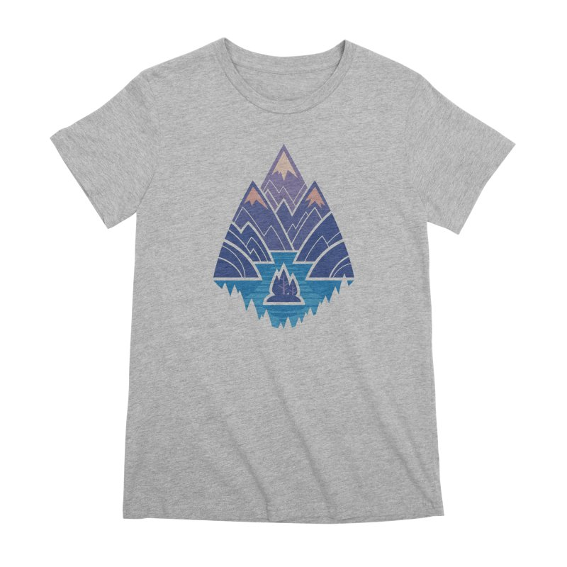 Mountain Lake : blue Women's Premium T-Shirt by Waynem