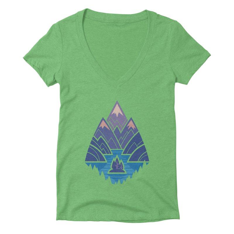 Mountain Lake : blue Women's Deep V-Neck V-Neck by Waynem