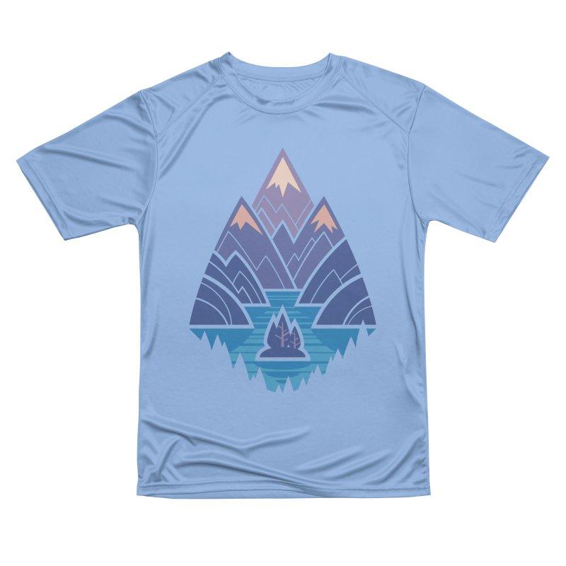 Mountain Lake : blue Women's Performance Unisex T-Shirt by Waynem