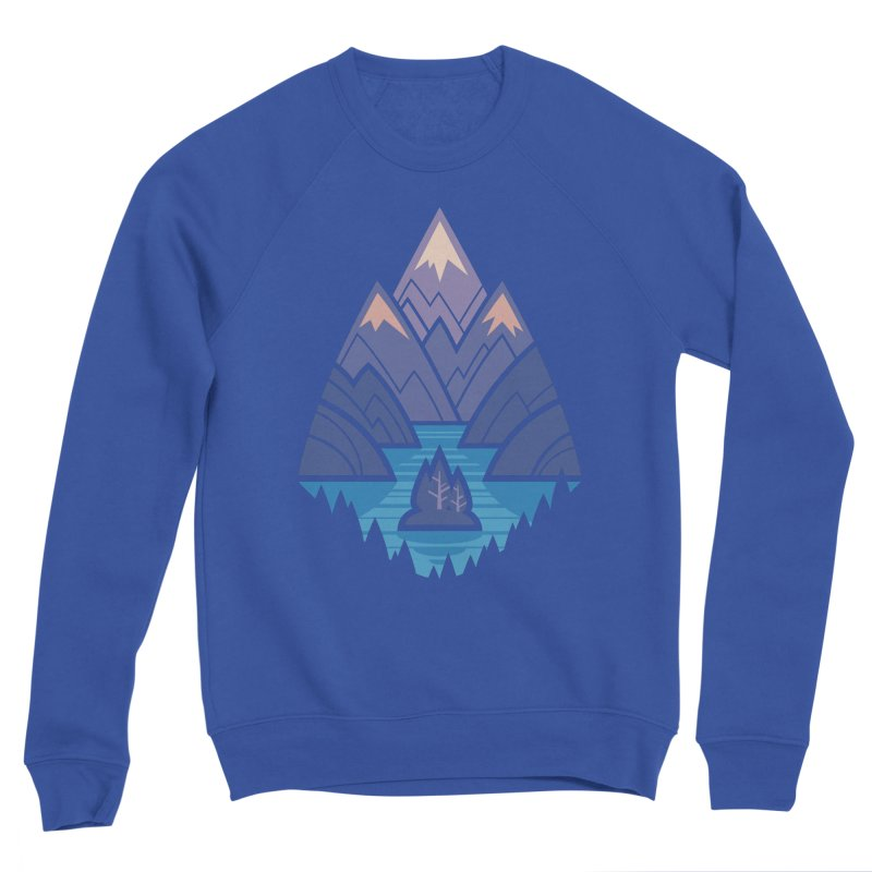 Mountain Lake : blue Women's Sponge Fleece Sweatshirt by Waynem