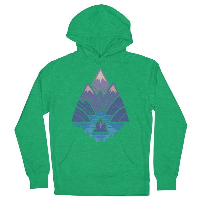Mountain Lake : blue Men's French Terry Pullover Hoody by Waynem