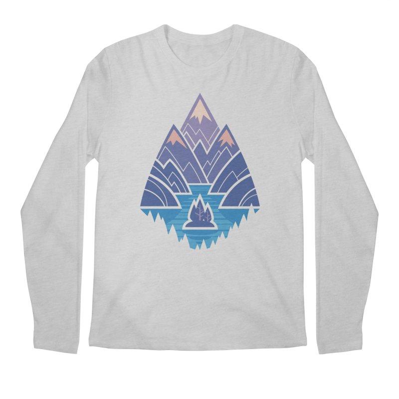Mountain Lake : blue Men's Regular Longsleeve T-Shirt by Waynem