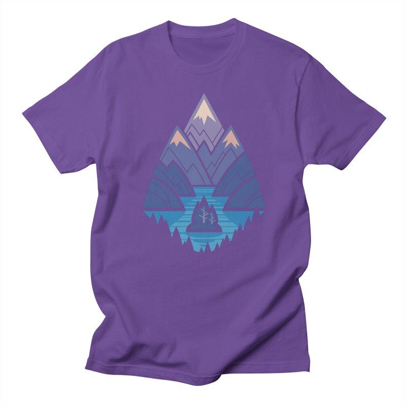 Mountain Lake : blue Men's Regular T-Shirt by Waynem