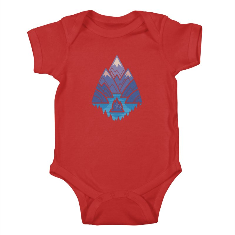 Mountain Lake : blue Kids Baby Bodysuit by Waynem