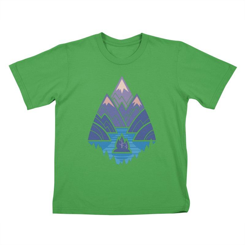 Mountain Lake : blue Kids T-Shirt by Waynem