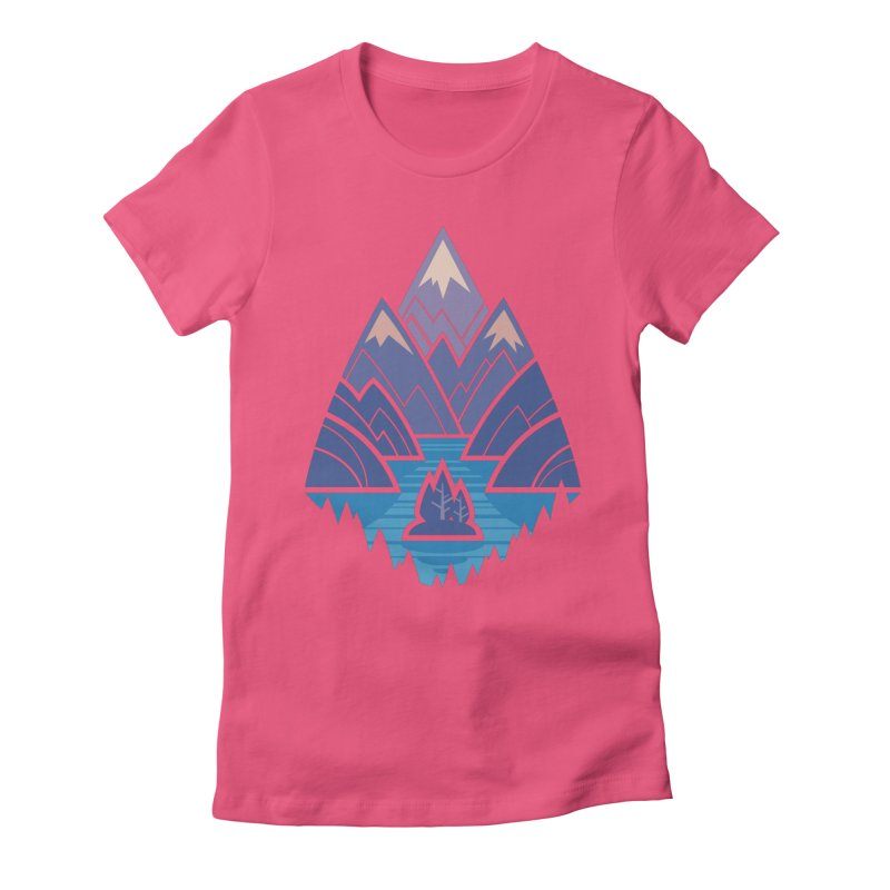 Mountain Lake : blue Women's Fitted T-Shirt by Waynem