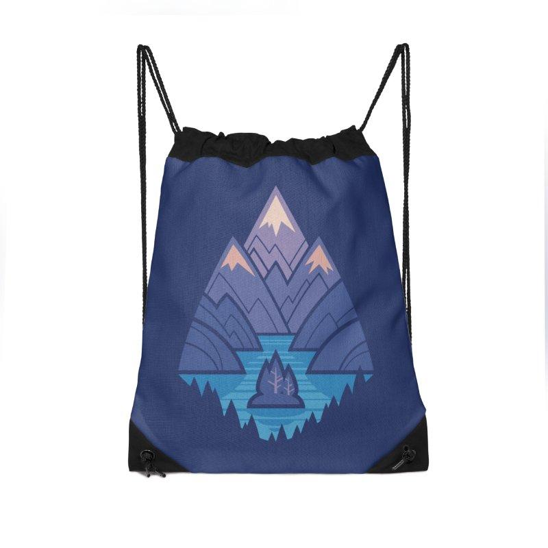 Mountain Lake : Dark Blue Accessories Drawstring Bag Bag by Waynem