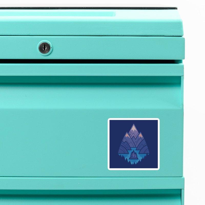 Mountain Lake : Dark Blue Accessories Magnet by Waynem