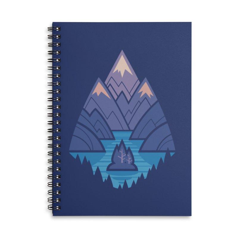 Mountain Lake : Dark Blue Accessories Lined Spiral Notebook by Waynem