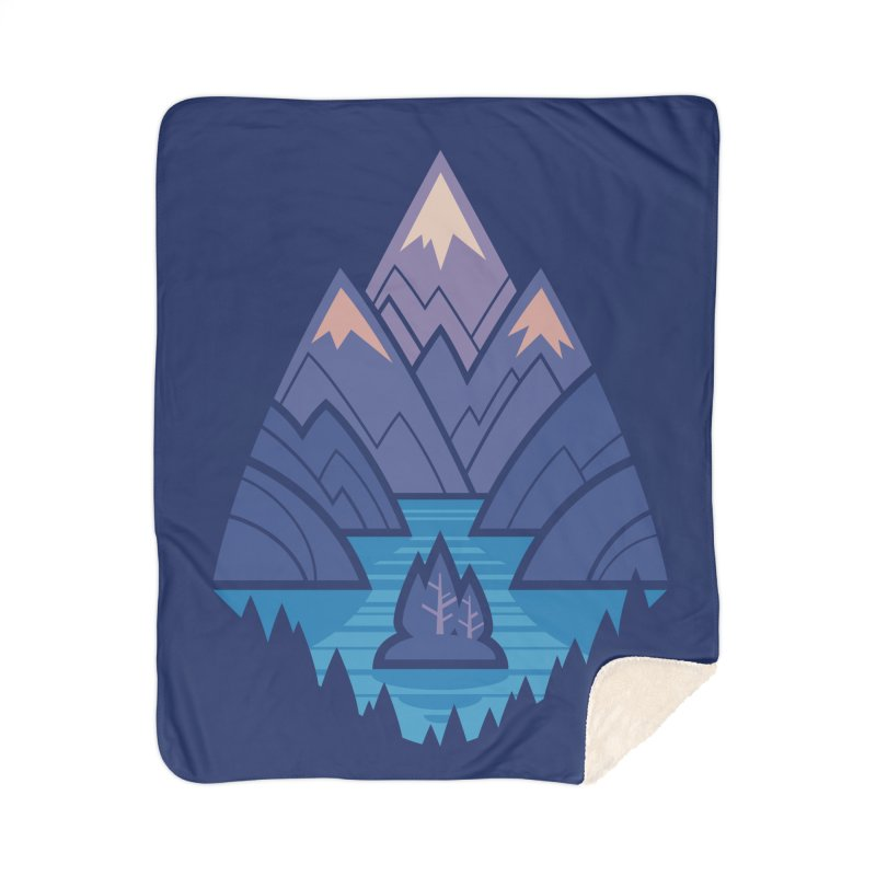 Mountain Lake : Dark Blue Home Sherpa Blanket Blanket by Waynem