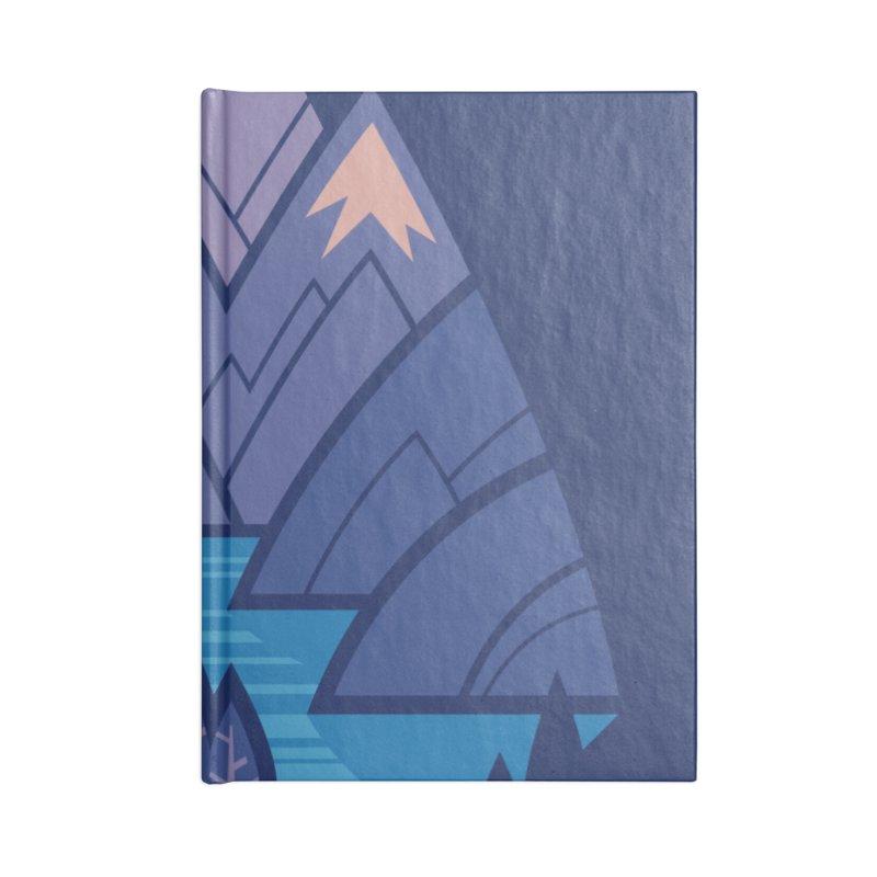 Mountain Lake : Dark Blue Accessories Lined Journal Notebook by Waynem