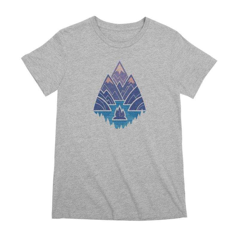 Mountain Lake : Dark Blue Women's Premium T-Shirt by Waynem