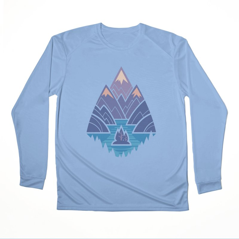 Mountain Lake : Dark Blue Men's Performance Longsleeve T-Shirt by Waynem