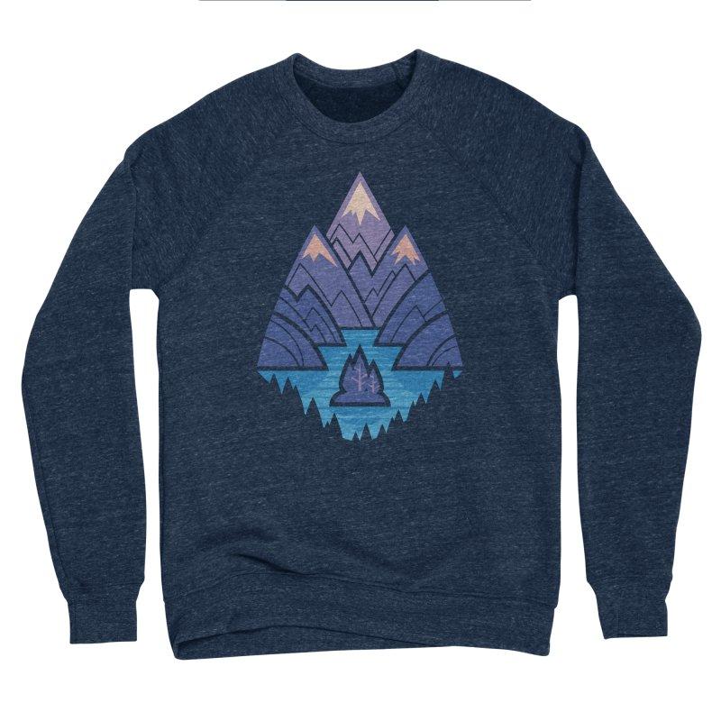 Mountain Lake : Dark Blue Men's Sponge Fleece Sweatshirt by Waynem