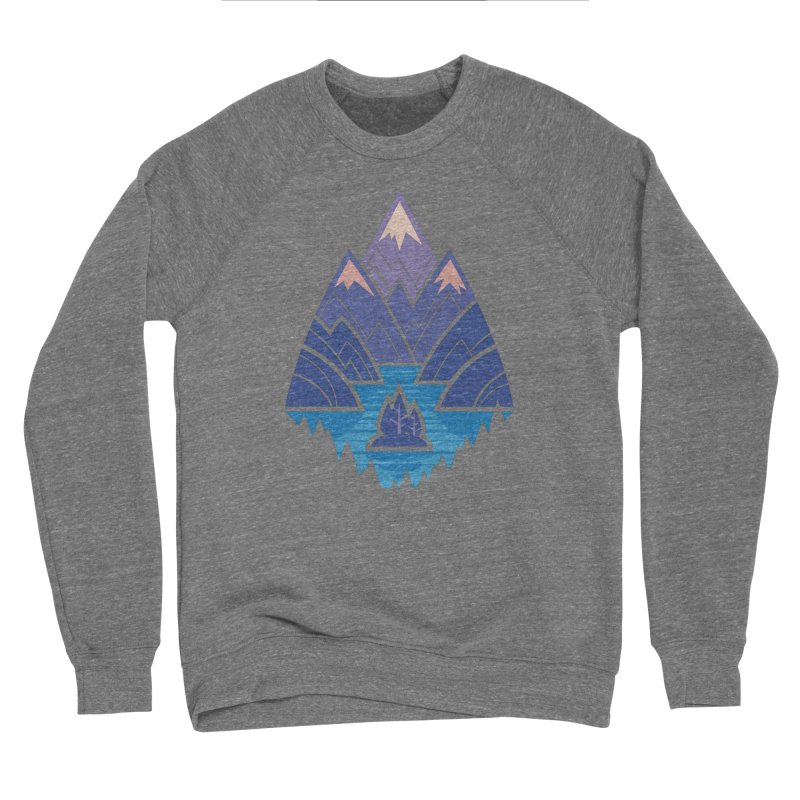 Mountain Lake : Dark Blue Women's Sponge Fleece Sweatshirt by Waynem