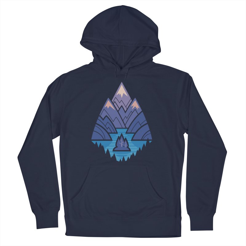 Mountain Lake : Dark Blue Women's French Terry Pullover Hoody by Waynem